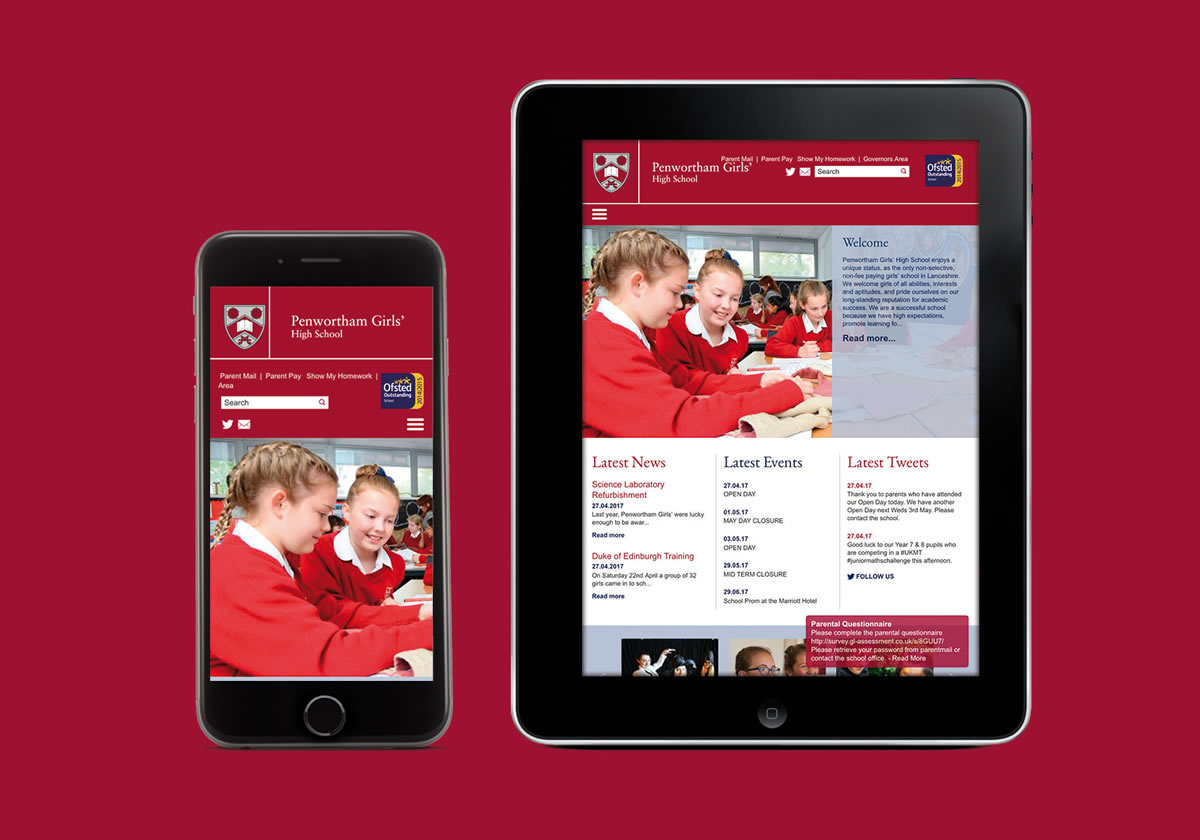 Website and print for Penwortham Girls' High School