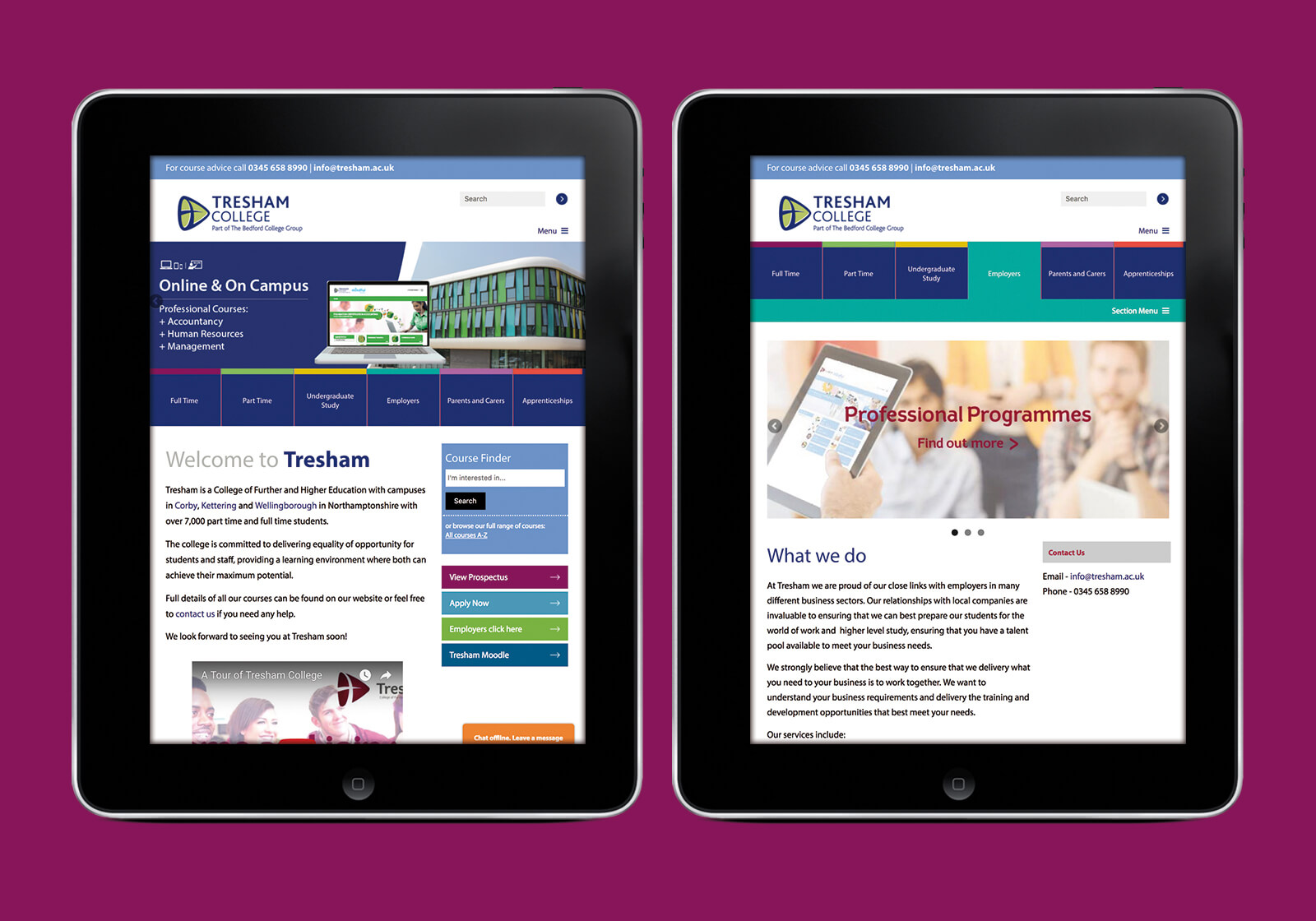 Website for Tresham College of Further and Higher Education