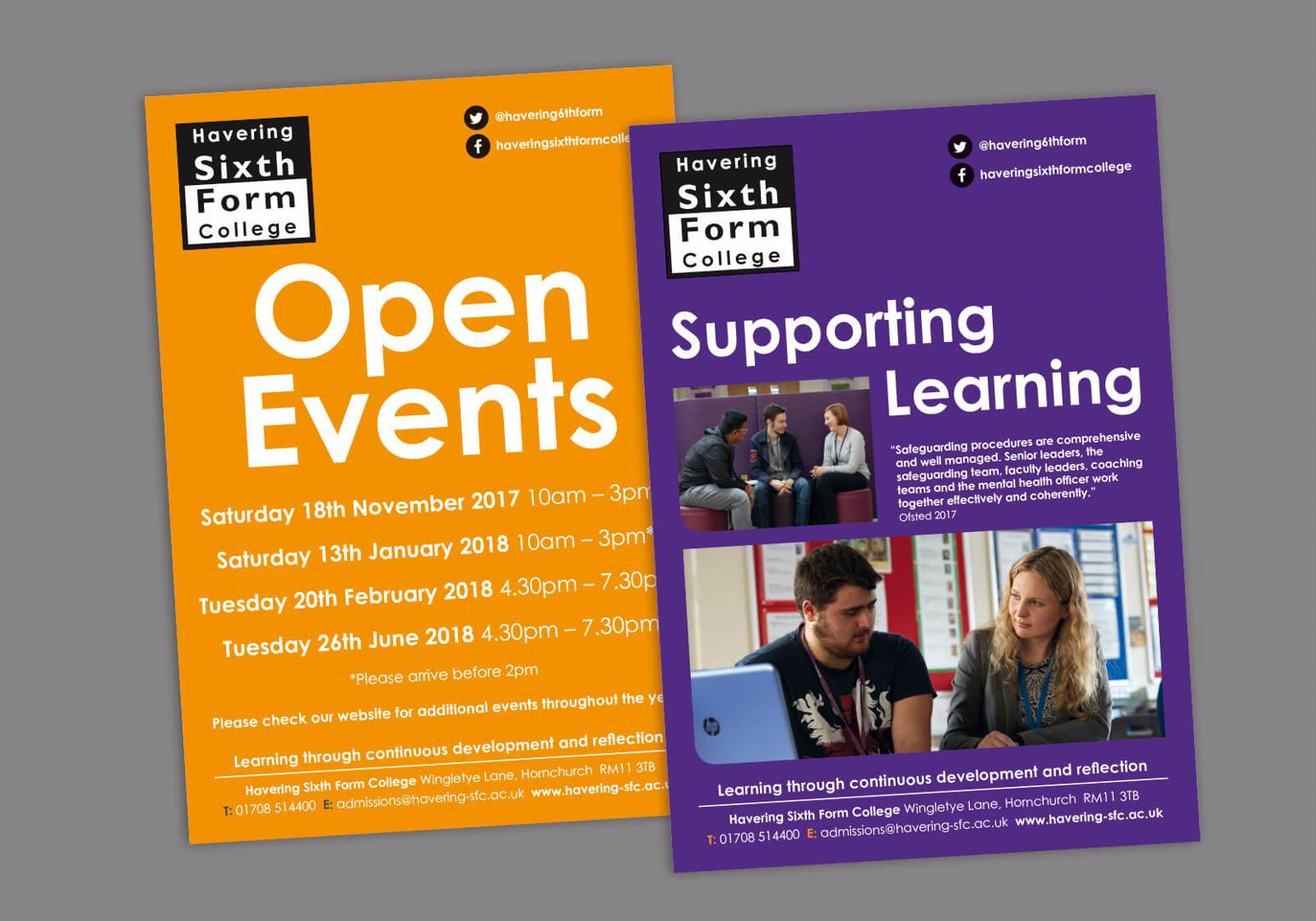 Offline marketing support for Havering Sixth Form College